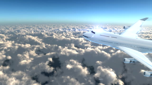 Airplane fly to the sky for airline promotion video