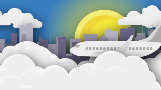 airplane flying over cityscape and clouds with sun - animation - travel agent stock videos and b-roll footage