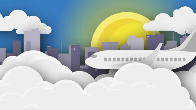 Vôo do avião sobre a arquitectura da cidade e as nuvens com Sun-Animation - vídeo