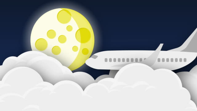 airplane flying over clouds at night with moon - animation - travel agent stock videos and b-roll footage