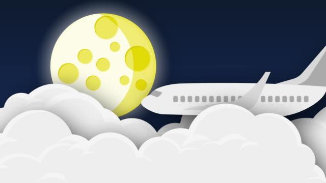 Vôo do avião sobre nuvens na noite com lua-animação - vídeo