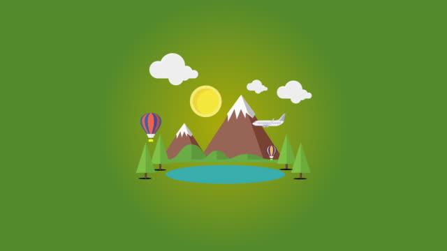 Vôo do avião sobre montanhas e lago com balões de ar quente-animação - vídeo