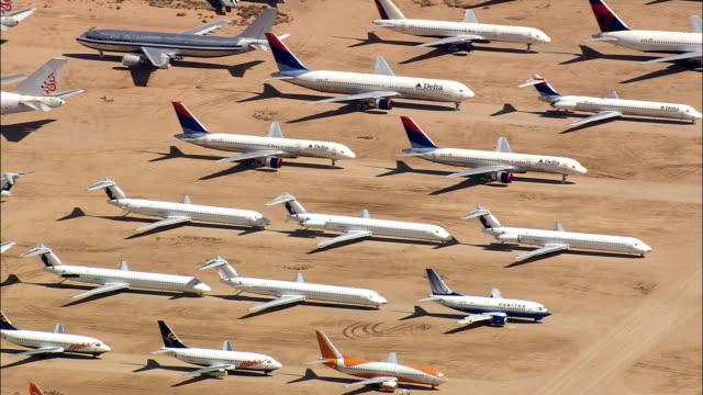 Airplane Graveyard  - Aerial View - California,  San Bernardino County,  United States video