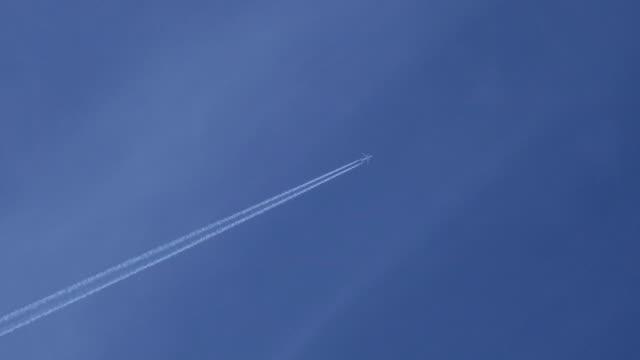 Airplane in bleu sky video