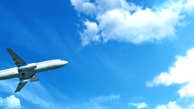 Airplane in sky Blue sky, clouds, travel, airplane plane stock videos & royalty-free footage