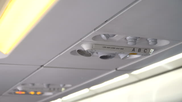 Airplane interior, signs on an airplane video