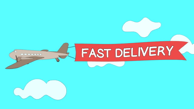 "airplane is passing through the clouds with ""fast delivery"" banner - seamless loop - banner internetowy filmów i materiałów b-roll"