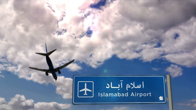 Airplane landing at Islamabad Pakistan airport