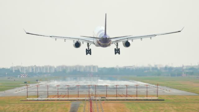 Airplane landing at Large airport video