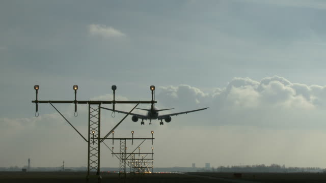 Airplane landing at Schiphol airport video