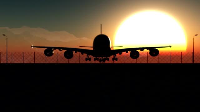 Flugzeug Landung bei Sonnenuntergang – Video