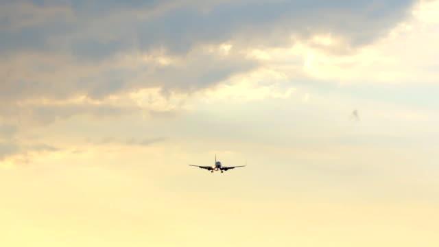 Airplane Landing at sunset. Airplane Landing at sunset. homecoming stock videos & royalty-free footage