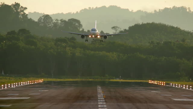 Airplane Landing at the airport. Flying airplane approaching at the airport. homecoming stock videos & royalty-free footage