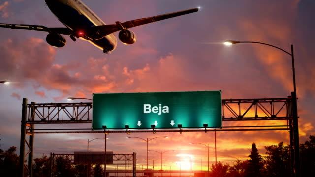 Airplane Landing Beja during a wonderful sunrise video