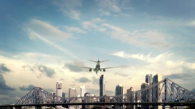 Airplane Landing Brisbane Bridge video
