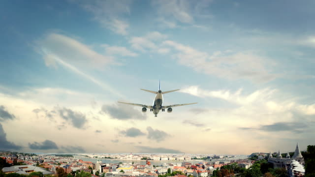 Airplane Landing Budapest Hungary Real 3d render of airplane landing to city. I have all cities. hungary stock videos & royalty-free footage
