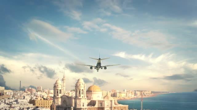 Airplane Landing Cadiz Spain video