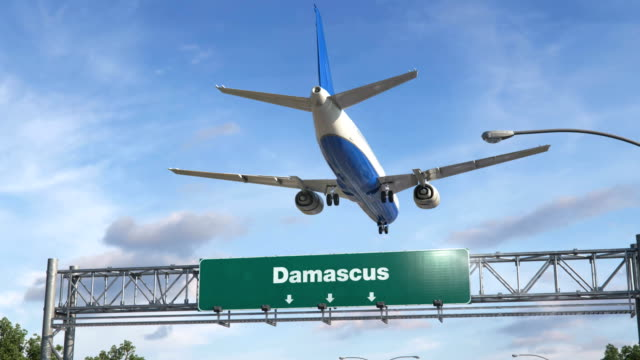 Airplane Landing Damascus Airplane flying over airport signboard damascus stock videos & royalty-free footage