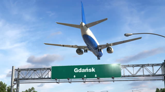 Airplane Landing Gdansk Airplane flying over airport signboard gdansk stock videos & royalty-free footage