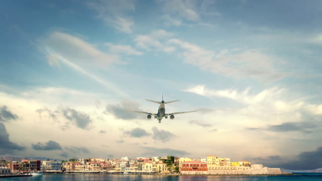 Airplane Landing Greece Chania Real 3d render of airplane landing to city. I have all cities. greek islands stock videos & royalty-free footage