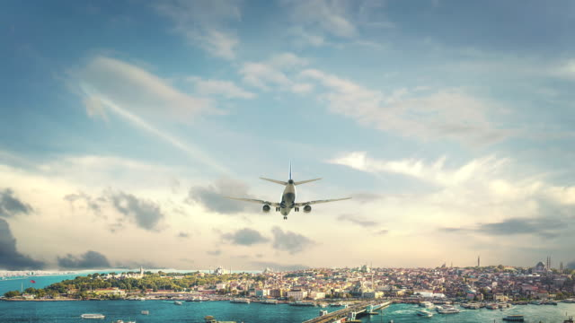 Airplane Landing Istanbul Turkey Real 3d render of airplane landing to city. I have all cities. istanbul stock videos & royalty-free footage