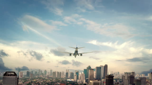 airplane landing jakarta indonesia - business travel stock videos and b-roll footage