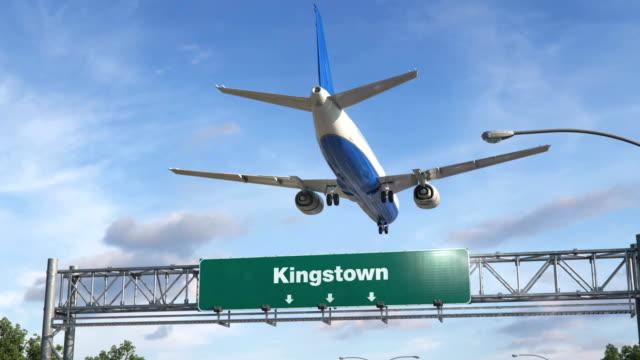 airplane landing kingstown - kingstown video stock e b–roll