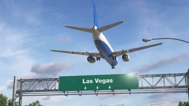 airplane landing las vegas - nevada video stock e b–roll