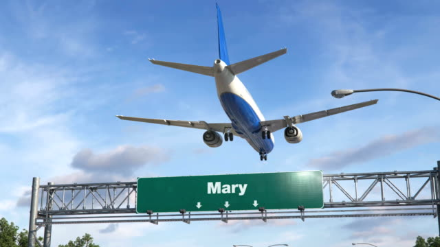 Airplane Landing Mary Airplane flying over airport signboard turkmenistan stock videos & royalty-free footage
