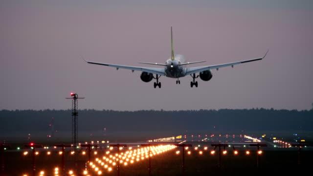 4K - Airplane landing on runway video