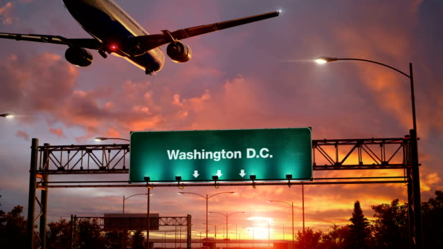 Airplane Landing Washington D.C. during a wonderful sunrise