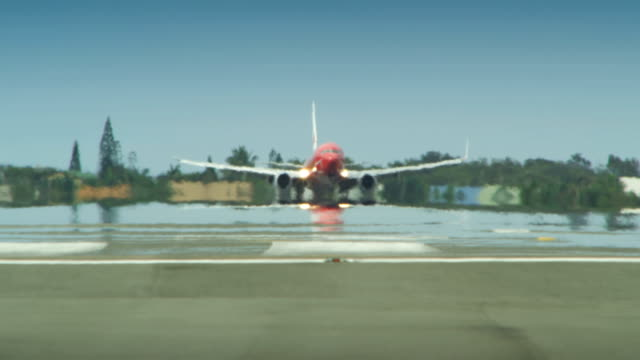 Airplane lands on an airport runway. video