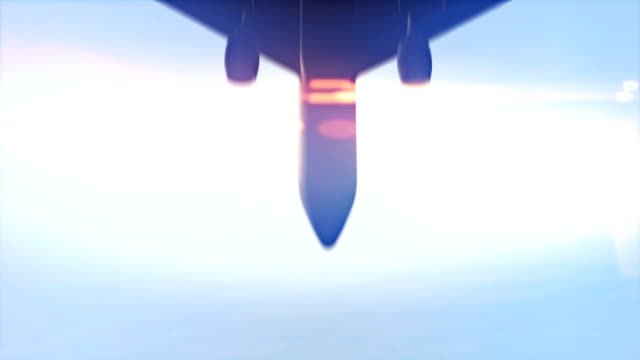 Airplane passing overhead in slow motion. video