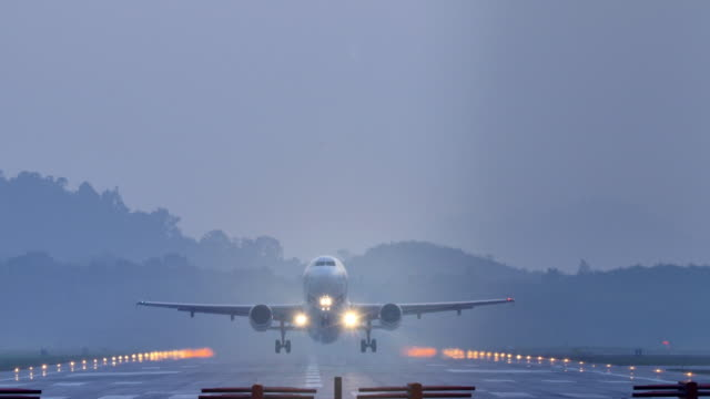 Airplane take off at dusk. video