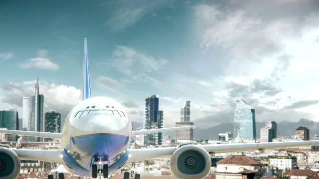Airplane Take Off Milan Italy Real 3d render of airplane take off from city. I have all cities. lombardy stock videos & royalty-free footage