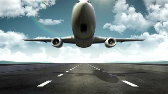 3 D avión de despegue en el Aeropuerto de aterrizaje de fondo. - vídeo