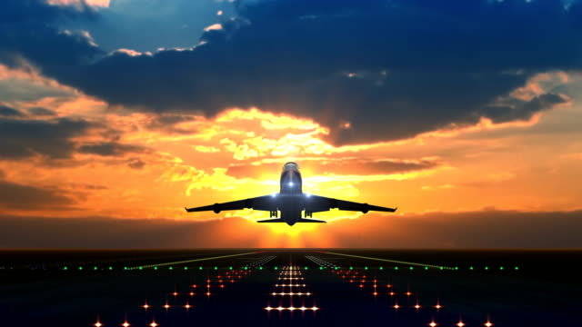 Airplane taking off against scenic sunset Large airplane taking off against beautiful sunset airport runway stock videos & royalty-free footage