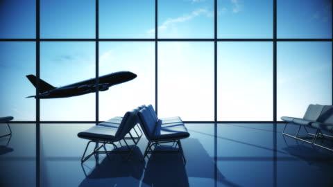 aereo che decolla   terminal dell'aeroporto - aeroporto video stock e b–roll