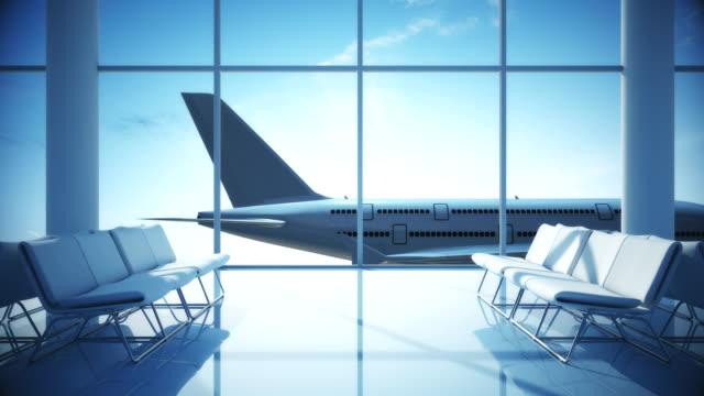 stockvideo's en b-roll-footage met vliegtuig opstijgen | luchthaven terminal - vliegveld vertrekhal