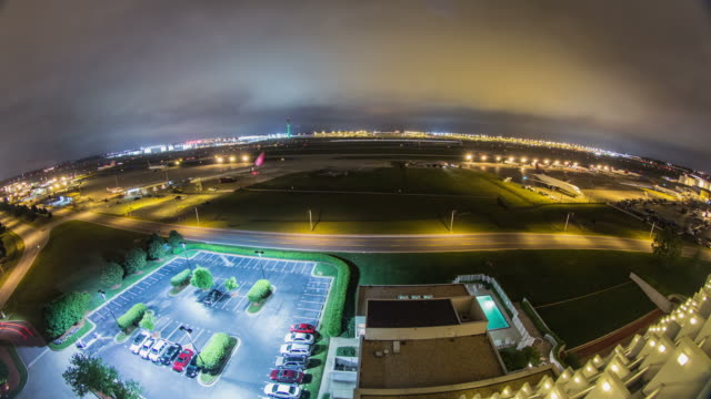 Airplane Time Lapse Airport Fisheye video