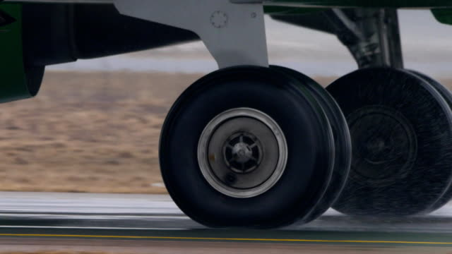 Airplane Wheel rotation, closeup, video