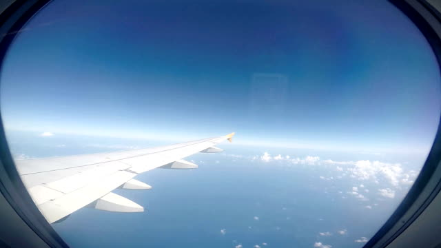 Airplane Window on the engine and wing video