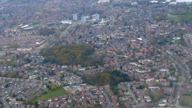 Airplane window view of Manchester Wythenshawe district