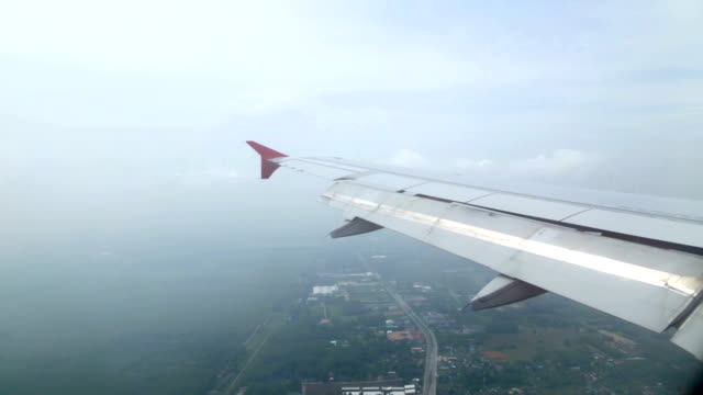 Airplane wing fly video