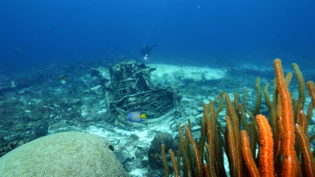 Flugzeug Wrack als Teil der Korallenriffe in der Karibik auf Curacao mit blauem Hintergrund – Video