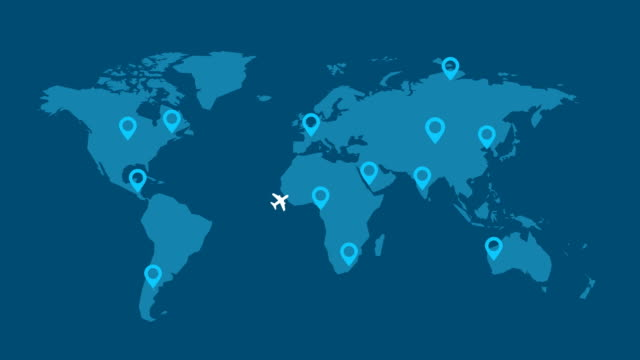 airplanes flying around world with map pointer traveler's concept - пешеходная дорожка путь сообщения стоковые видео и кадры b-roll