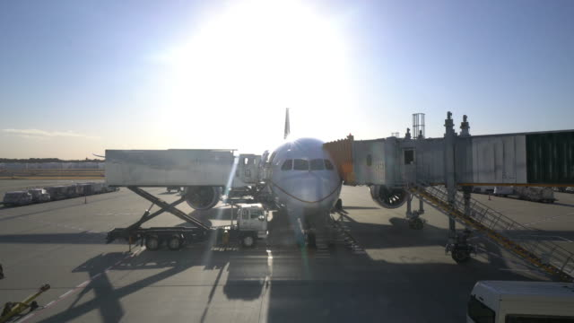Airplanes parked at the airport video