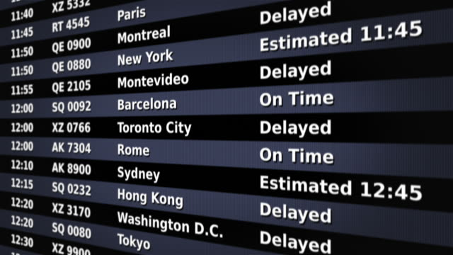 Airport arrival board. Black and Gray. Without flags. 2 videos in 1 file. Airport arrival board, showing time, flight number,  and city of the flight. Lateral view. Loopable. Full HD. Animation created exclusively for iStockphoto.  goodbye single word stock videos & royalty-free footage