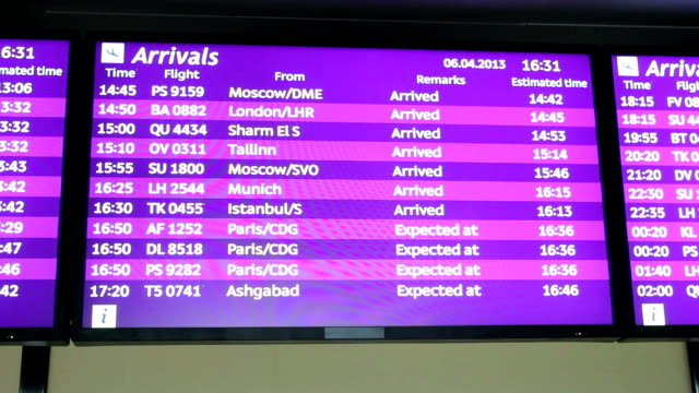 Airport arrivals and departures screens. Flight monitor. video