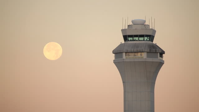 HD airport control tower with moon video